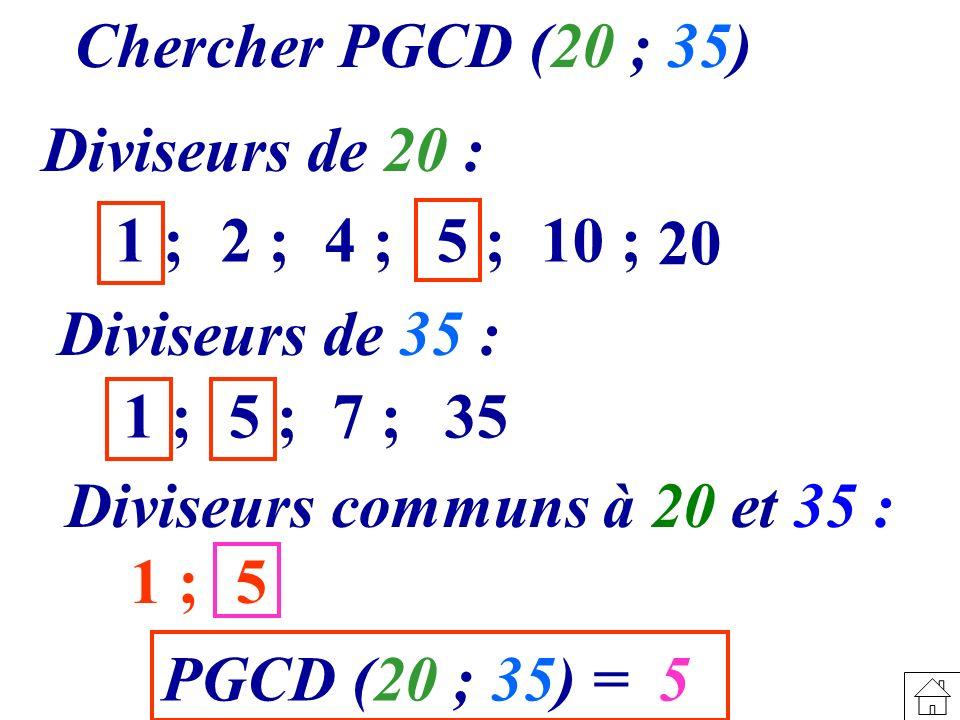 Chercher PGCD (20 ; 35) Diviseurs de 20 : 1 ; 2 ; 4 ; 5 ; 10 ; 20. Diviseurs de 35 : 1 ;