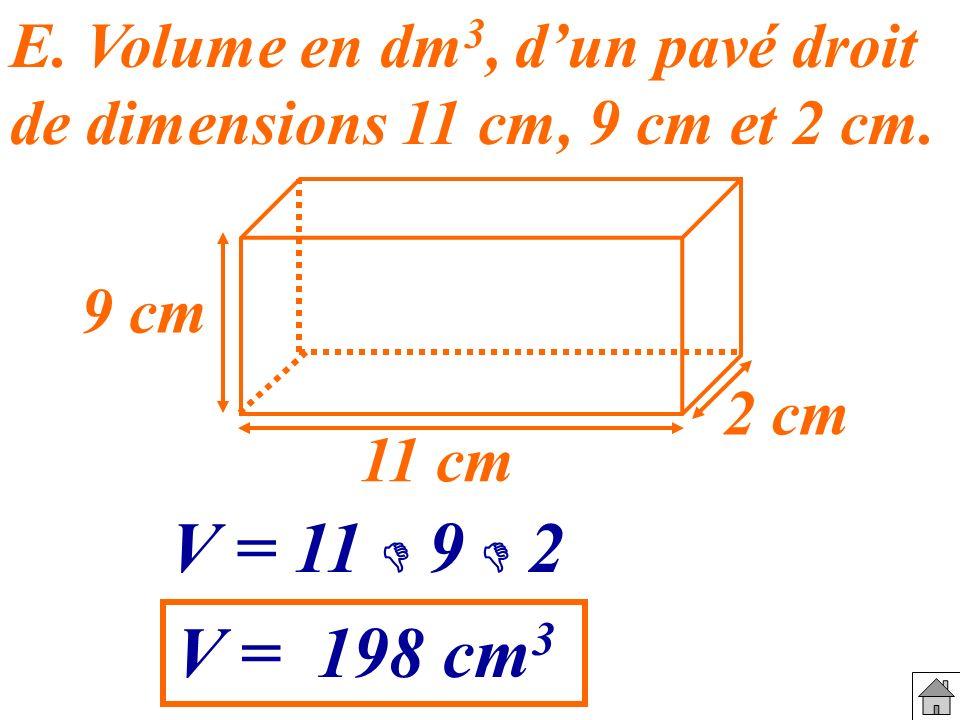 E. Volume en dm3, d'un pavé droit de dimensions 11 cm, 9 cm et 2 cm.