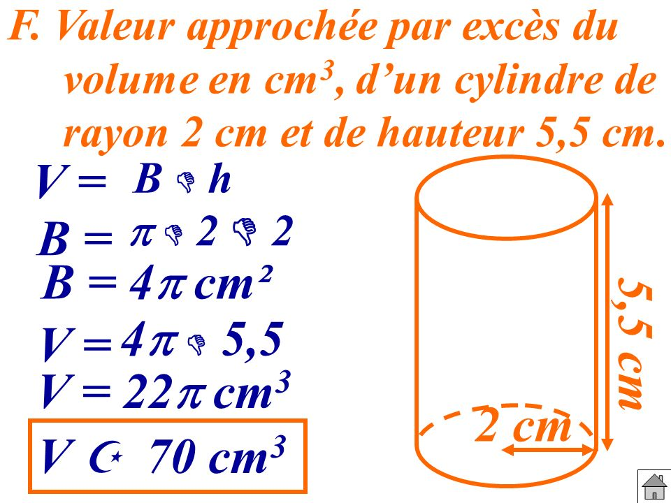 V = B = B = 4p cm² 5,5 cm 4p  5,5 V = V = 22p cm3 2 cm V  70 cm3