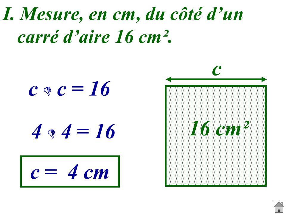 I. Mesure, en cm, du côté d'un carré d'aire 16 cm².