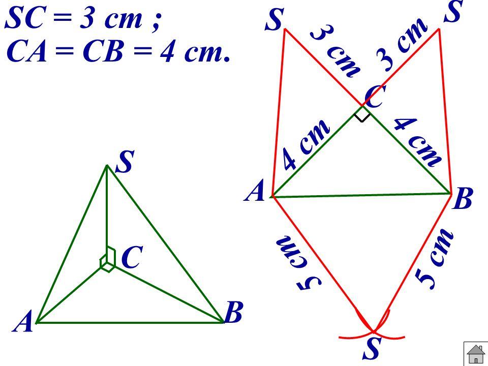 S S SC = 3 cm ; CA = CB = 4 cm. 3 cm 3 cm A B C 4 cm A B C S 5 cm 5 cm S