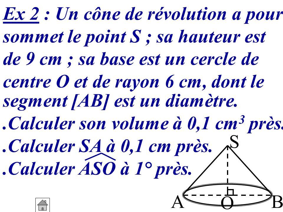 Ex 2 : Un cône de révolution a pour
