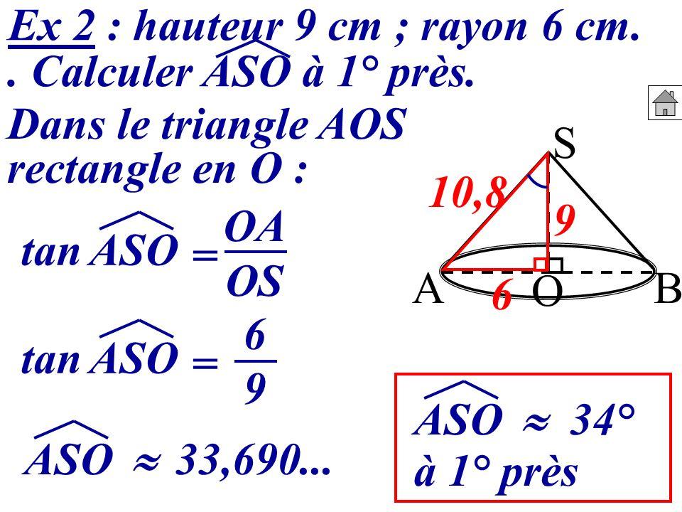 Ex 2 : hauteur 9 cm ; rayon 6 cm.