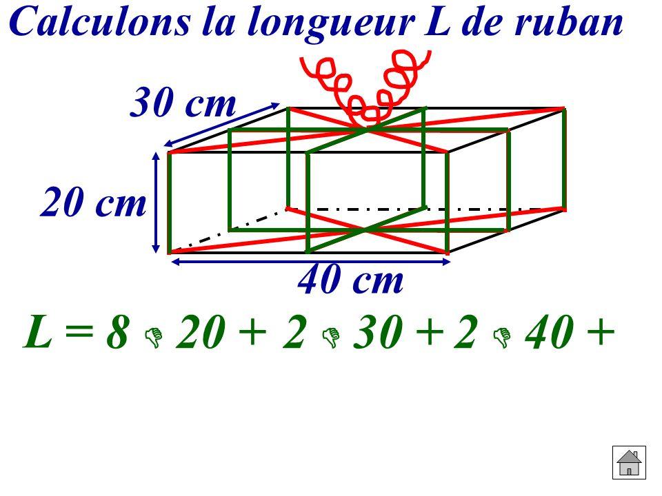 8  20 + 2  30 + 2  40 + L = Calculons la longueur L de ruban 30 cm