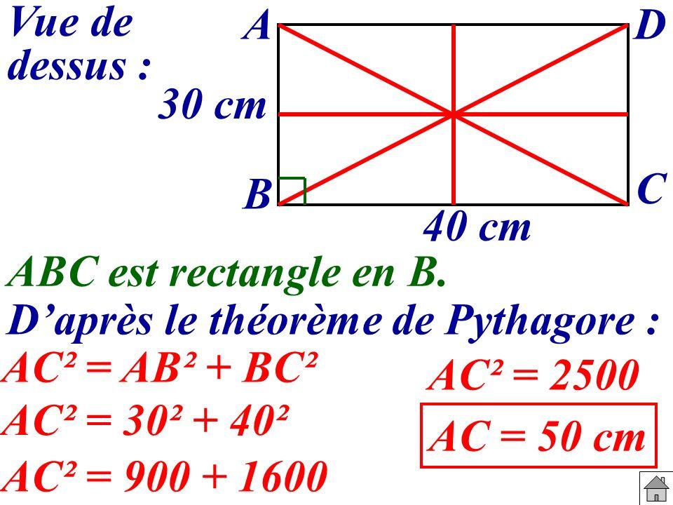 D'après le théorème de Pythagore :
