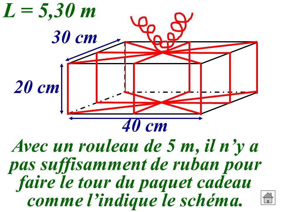 L = 5,30 m 20 cm. 30 cm. 40 cm.