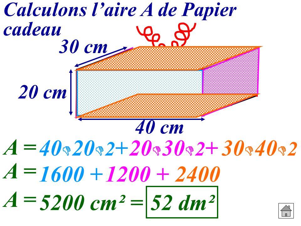 40202+ 20302+ 30402 A = 1600 + 1200 + 2400 A = 5200 cm² = 52 dm²