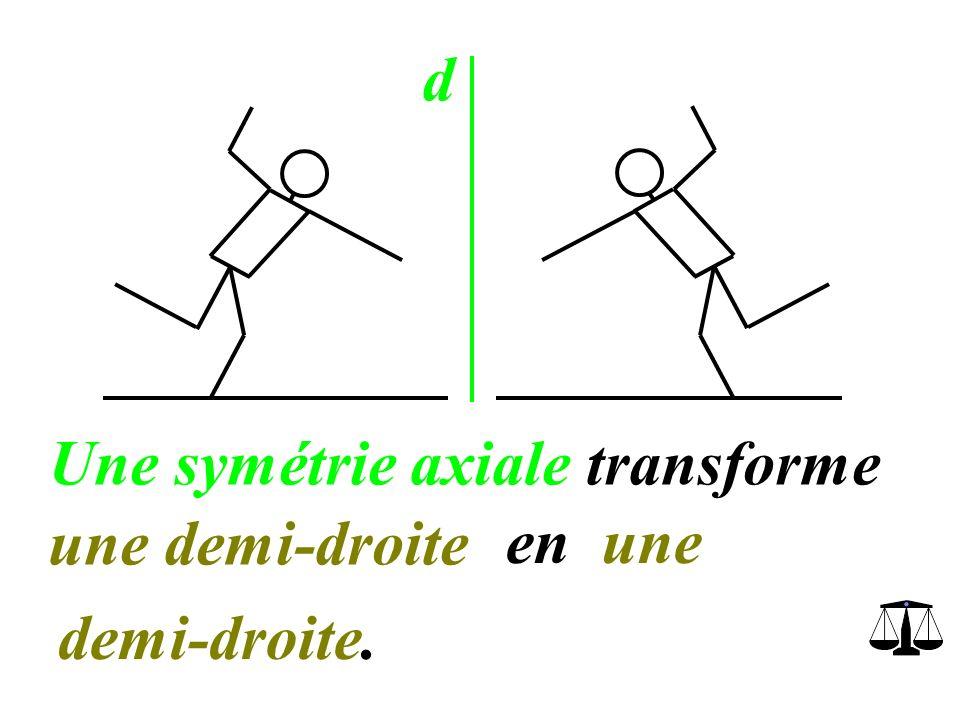 d Une symétrie axiale transforme une demi-droite en une demi-droite.