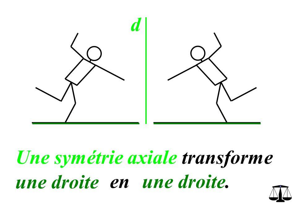 d Une symétrie axiale transforme une droite en une droite.