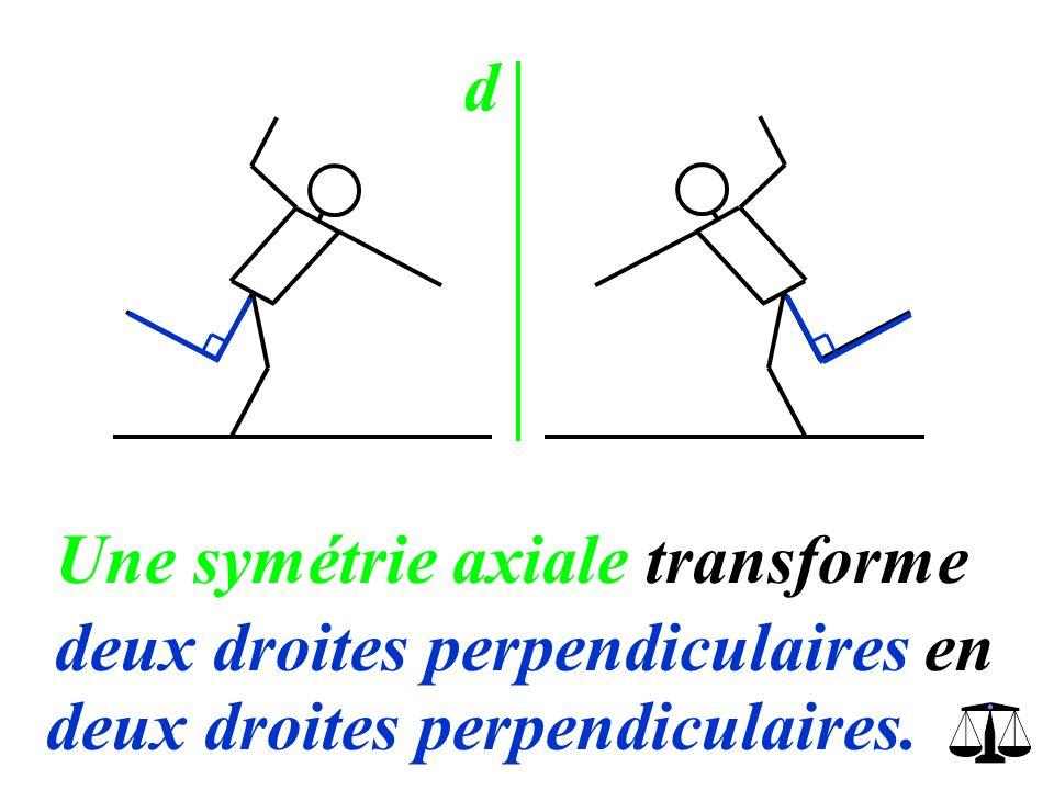 d Une symétrie axiale transforme deux droites perpendiculaires en deux droites perpendiculaires.