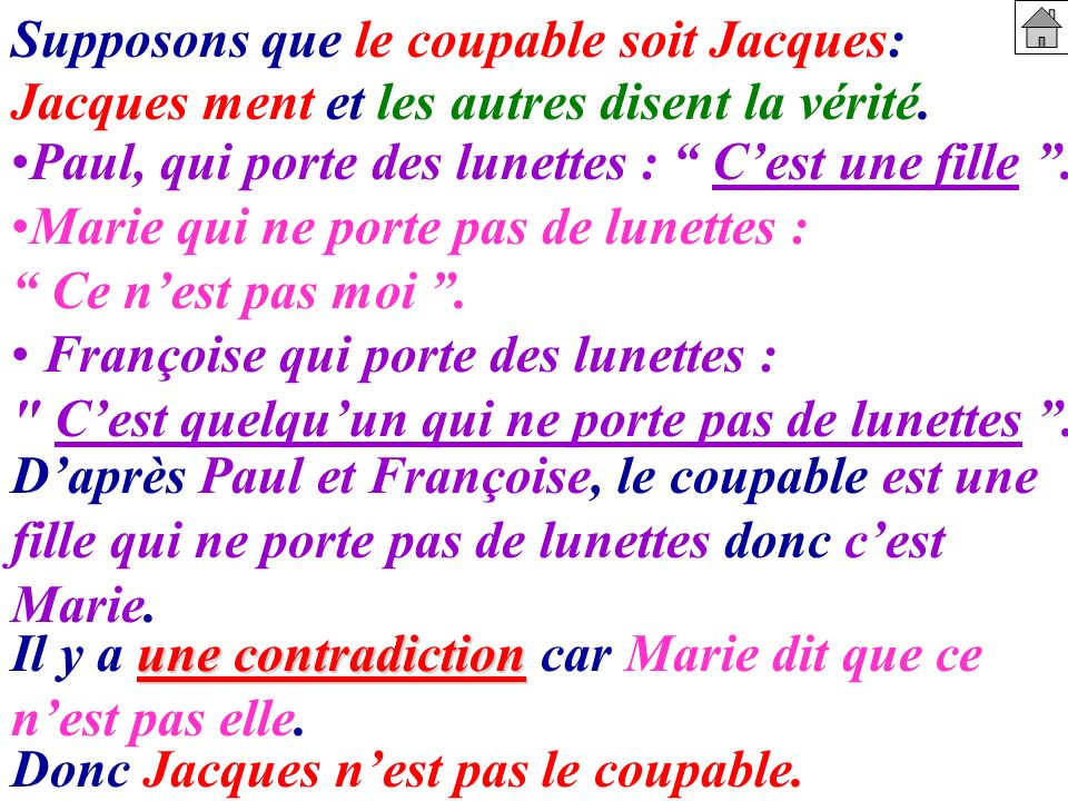 Supposons que le coupable soit Jacques: