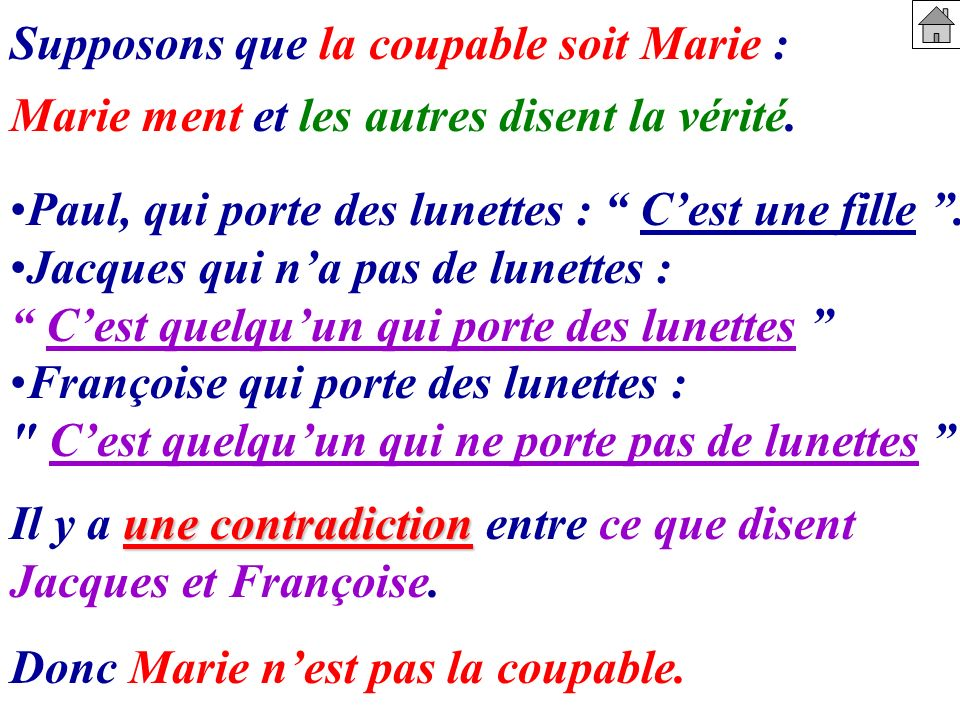 Supposons que la coupable soit Marie :