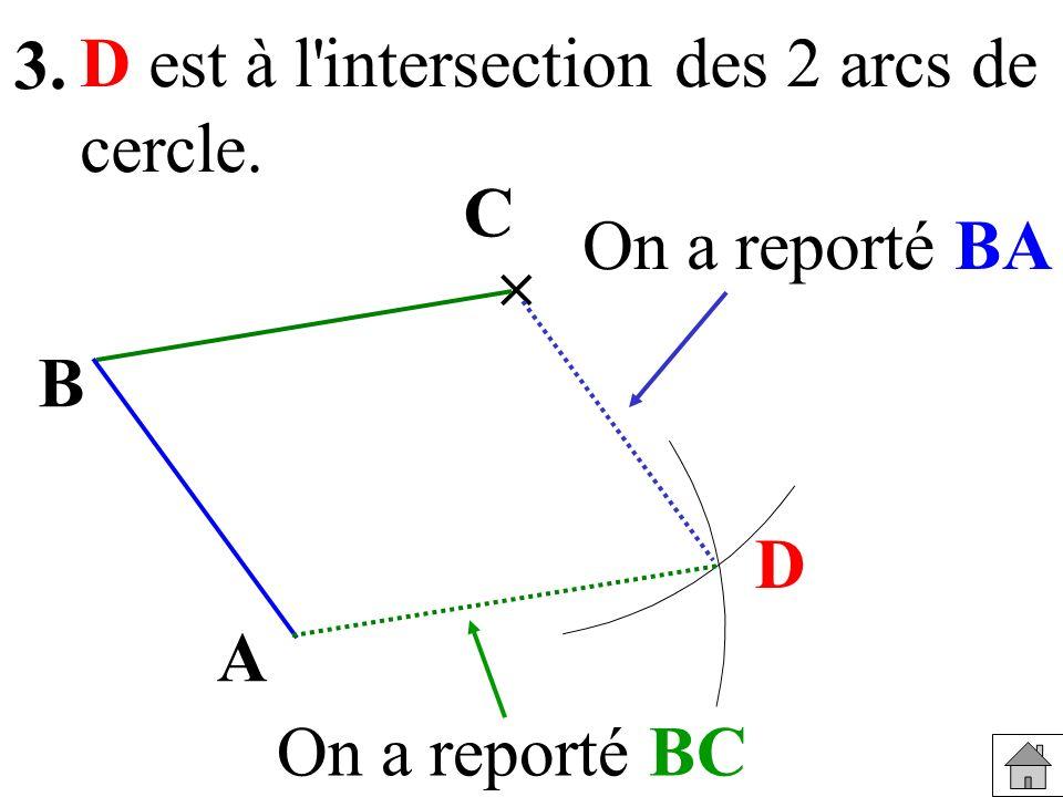 3. D est à l intersection des 2 arcs de cercle. C On a reporté BA  B D A On a reporté BC