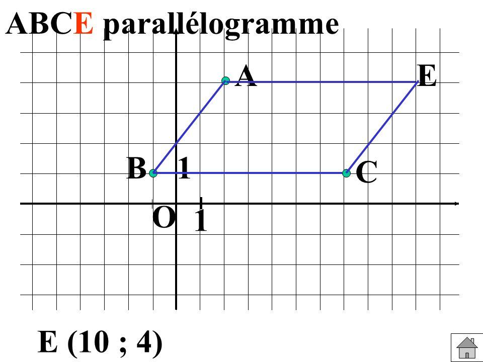 ABCE parallélogramme A E B 1 C O 1 E (10 ; 4)