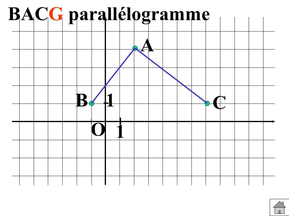 BACG parallélogramme A B 1 C O 1