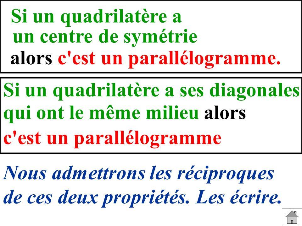 Si un quadrilatère a un centre de symétrie. alors c est un parallélogramme. Si un quadrilatère a ses diagonales.