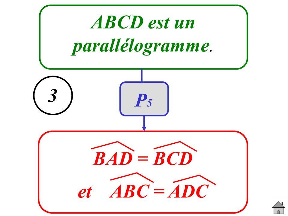 ABCD est un parallélogramme. BAD = BCD et ABC = ADC 3 P5