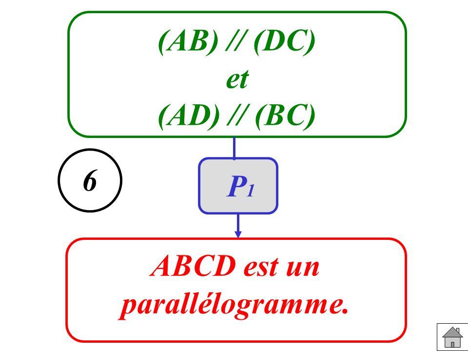 (AB) // (DC) et (AD) // (BC) ABCD est un parallélogramme. 6 P1