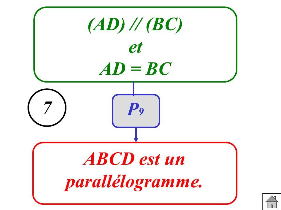 (AD) // (BC) et AD = BC ABCD est un parallélogramme. 7 P9