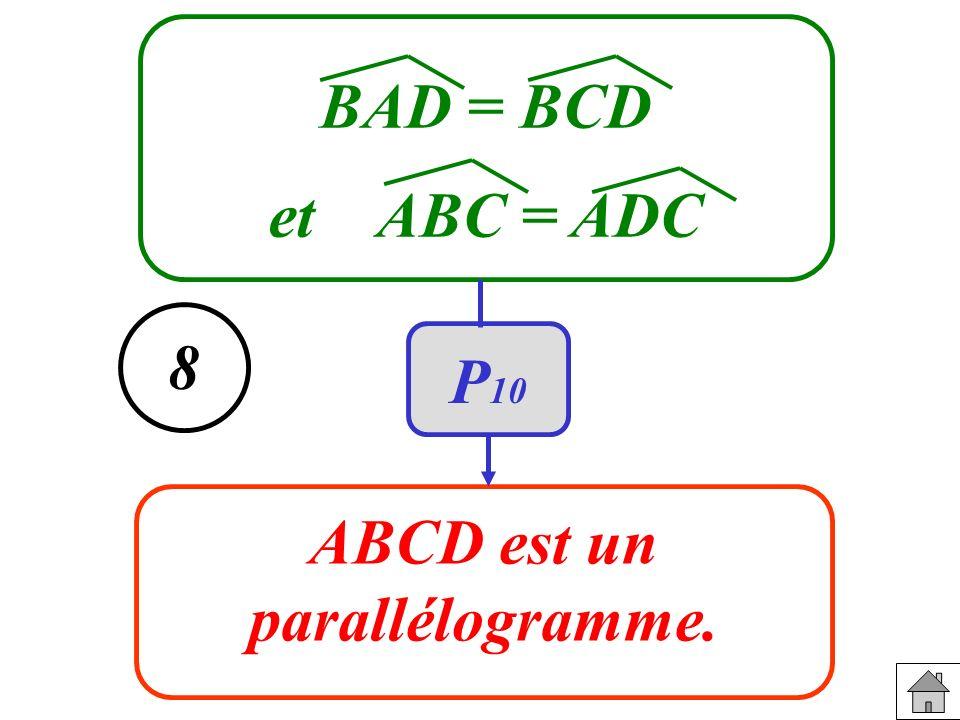 BAD = BCD et ABC = ADC 8 P10 ABCD est un parallélogramme.