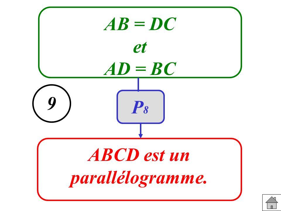 AB = DC et AD = BC ABCD est un parallélogramme. 9 P8