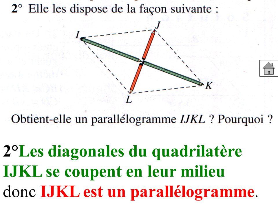 2°Les diagonales du quadrilatère