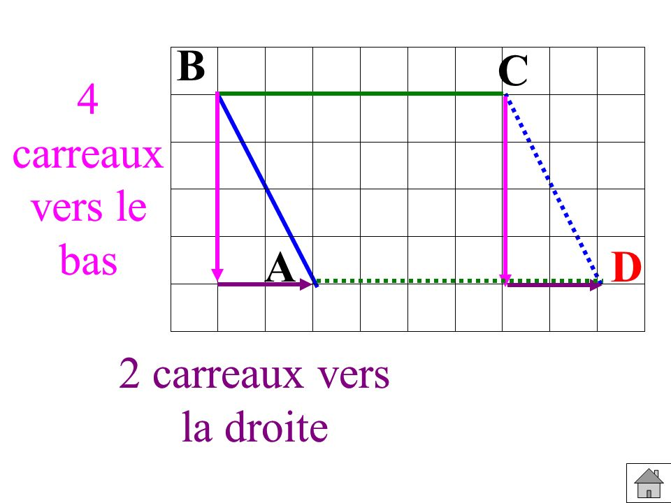 B C. 4 carreaux vers le bas. 4 carreaux vers le bas. A. D. 2 carreaux vers. la droite. 2 carreaux vers.