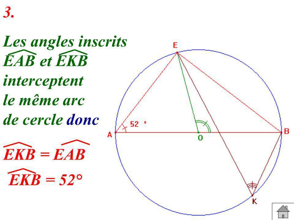 3. Les angles inscrits EAB et EKB interceptent le même arc de cercle donc EKB = EAB EKB = 52°