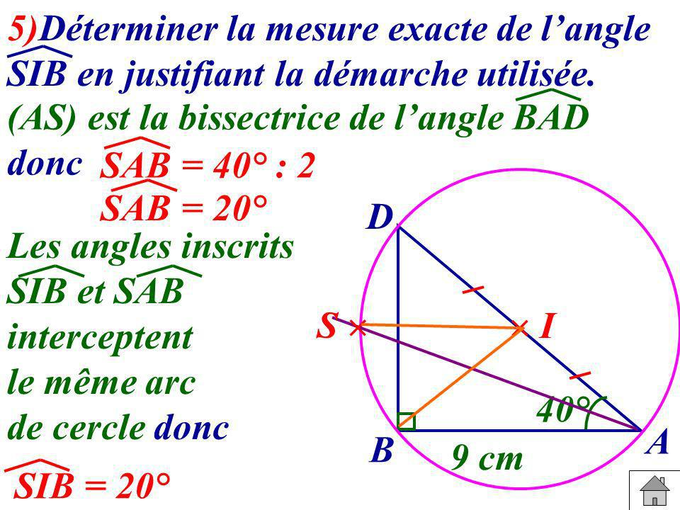 5)Déterminer la mesure exacte de l'angle SIB en justifiant la démarche utilisée.