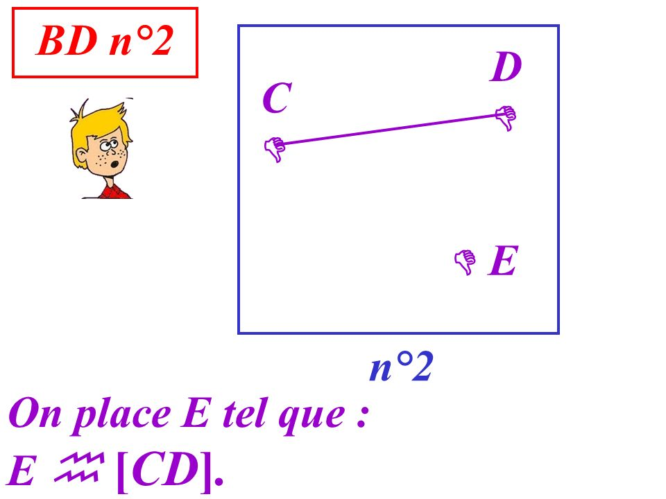 BD n°2 D  C   E n°2 On place E tel que : E  [CD].
