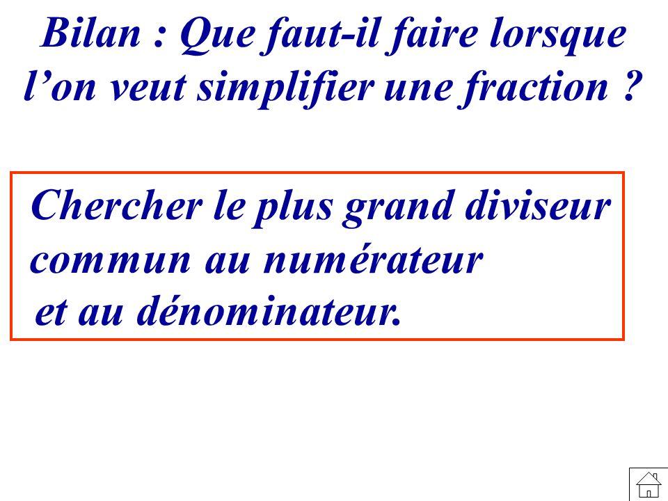 Bilan : Que faut-il faire lorsque l'on veut simplifier une fraction