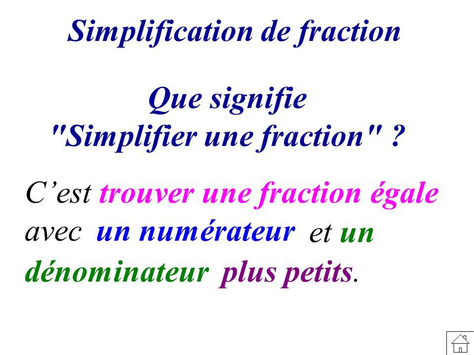 Simplification de fraction Simplifier une fraction