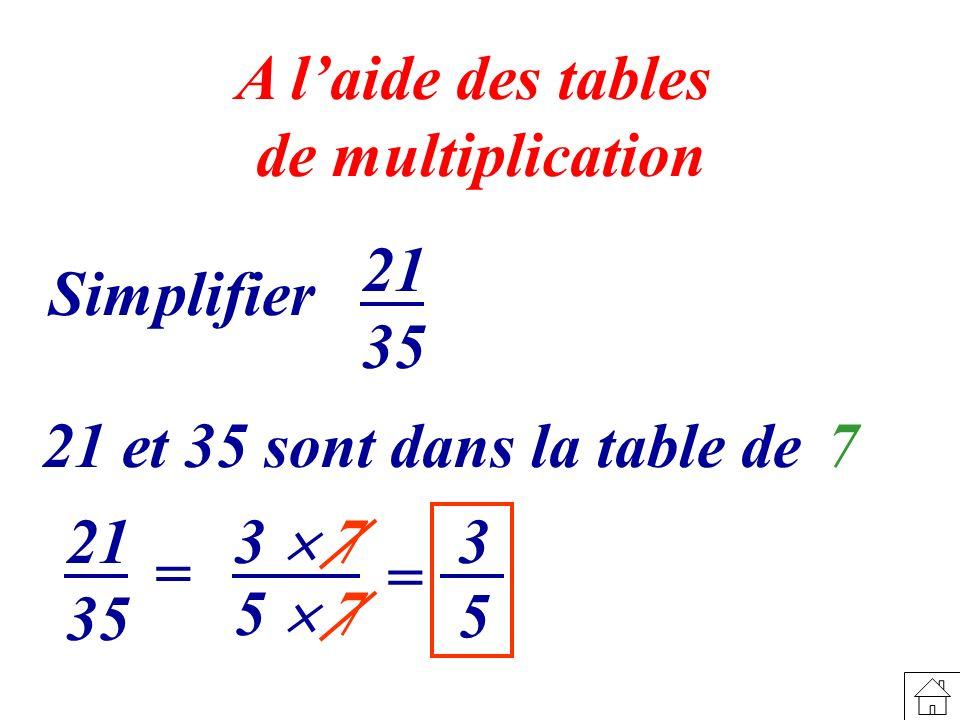 A l'aide des tables de multiplication. 21. 35. Simplifier. 21 et 35 sont dans la table de. 7. 21.