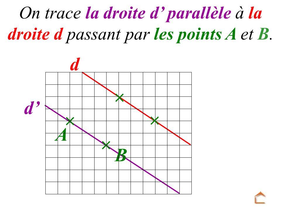 On trace la droite d' parallèle à la droite d passant par les points A et B.