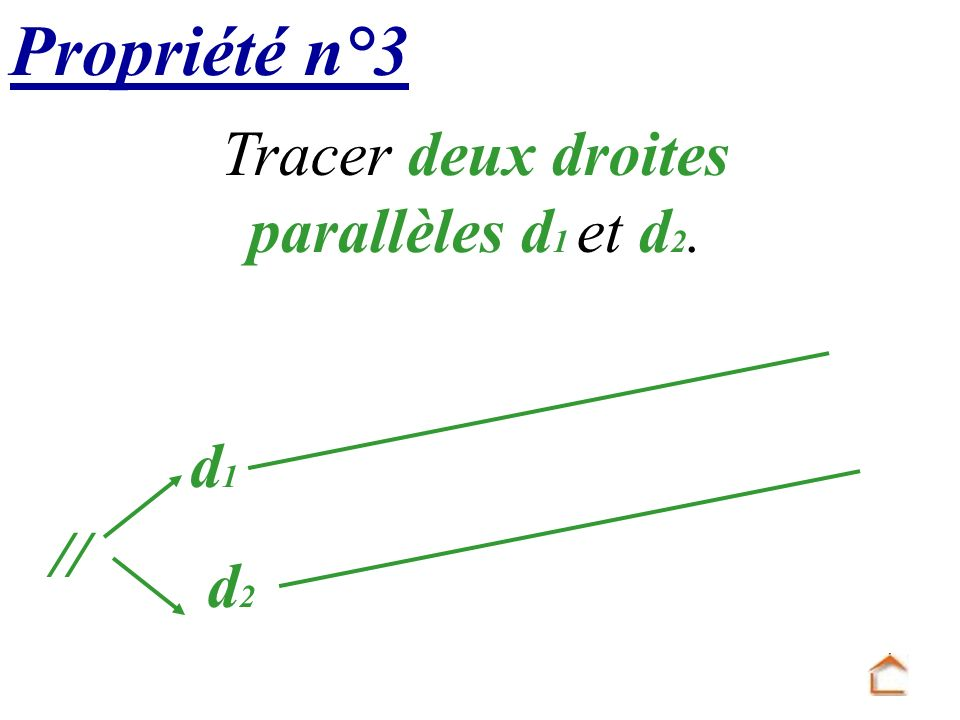 Tracer deux droites parallèles d1 et d2.