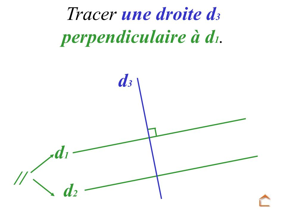 Tracer une droite d3 perpendiculaire à d1.