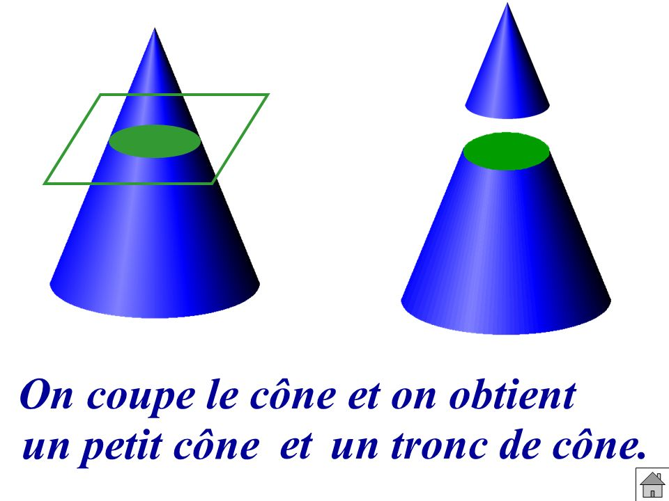 On coupe le cône et on obtient