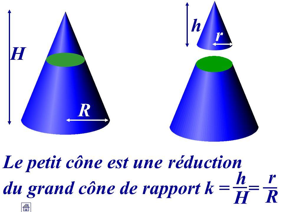 h r H R Le petit cône est une réduction h H r R du grand cône de rapport k = =