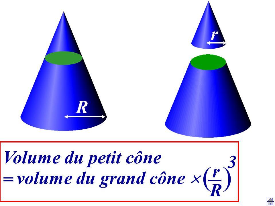 r R Volume du petit cône = 3 ( ) r R volume du grand cône 
