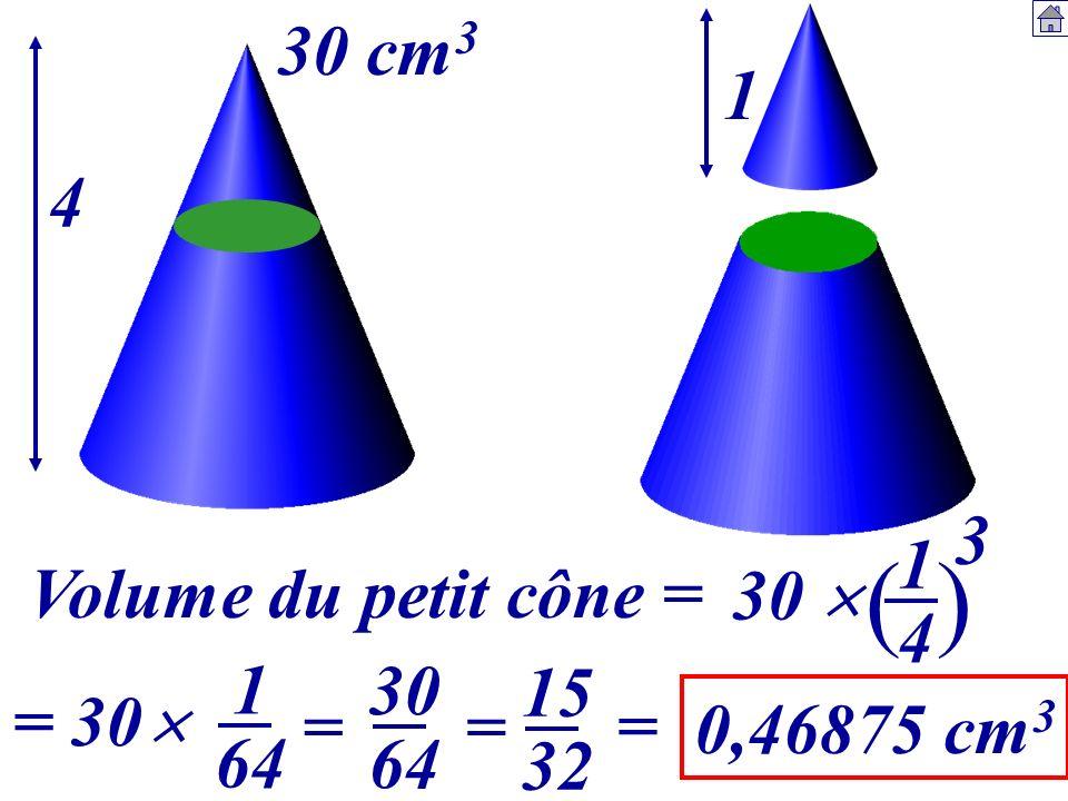 ( ) 30 cm3 1 4 3 1 4 Volume du petit cône = 30  1 64 30 64 15 32 = 30