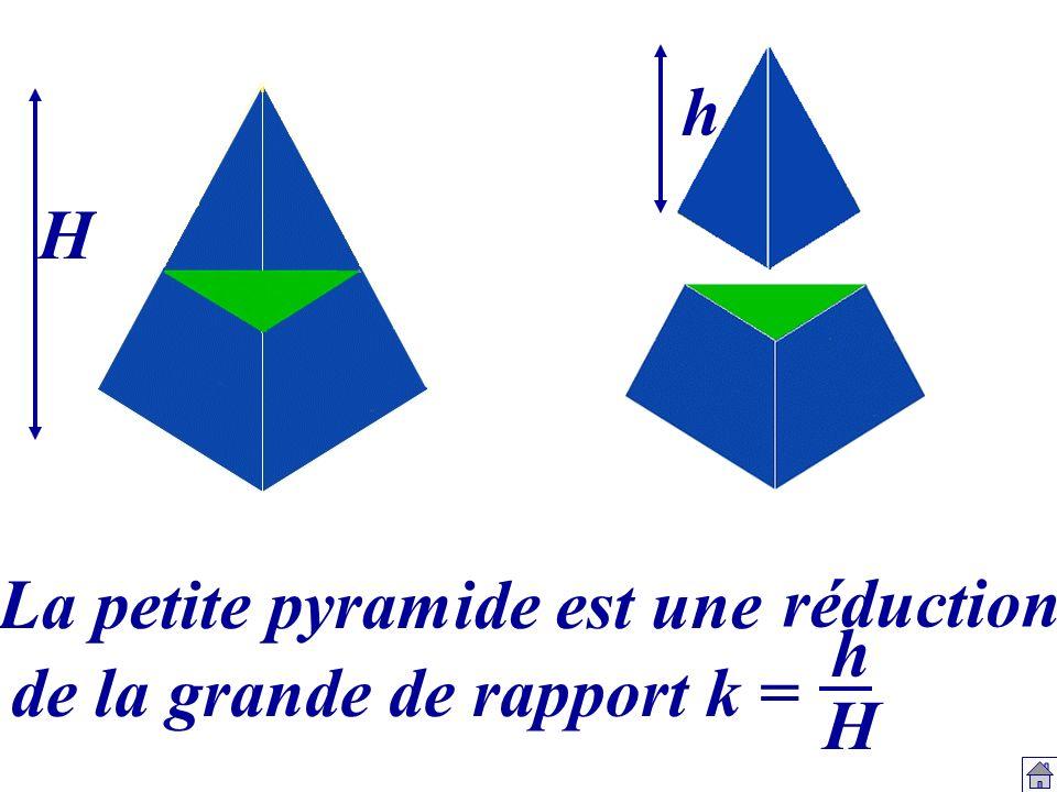 h H La petite pyramide est une réduction h H de la grande de rapport k =