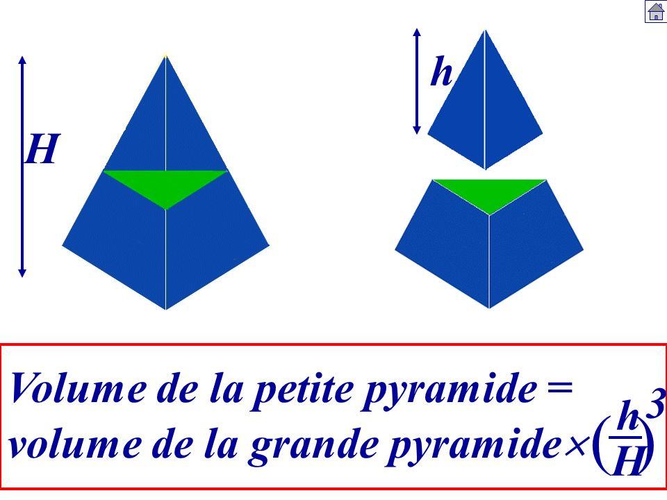( ) h H Volume de la petite pyramide = 3 h