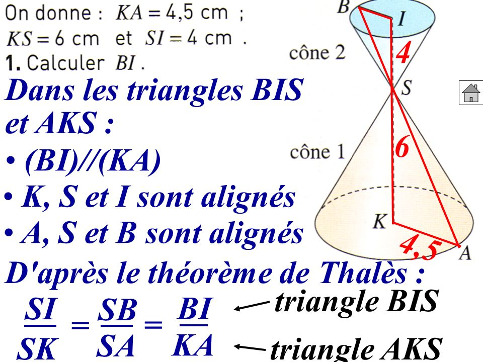 D après le théorème de Thalès :