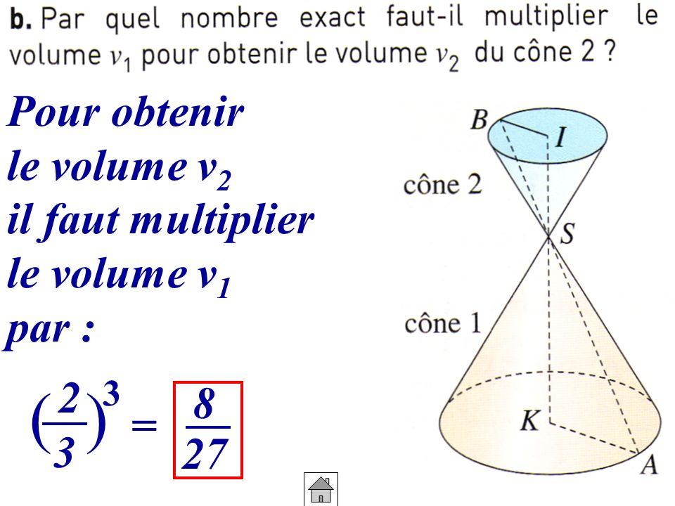 ( ) Pour obtenir le volume v2 il faut multiplier le volume v1 par : 2