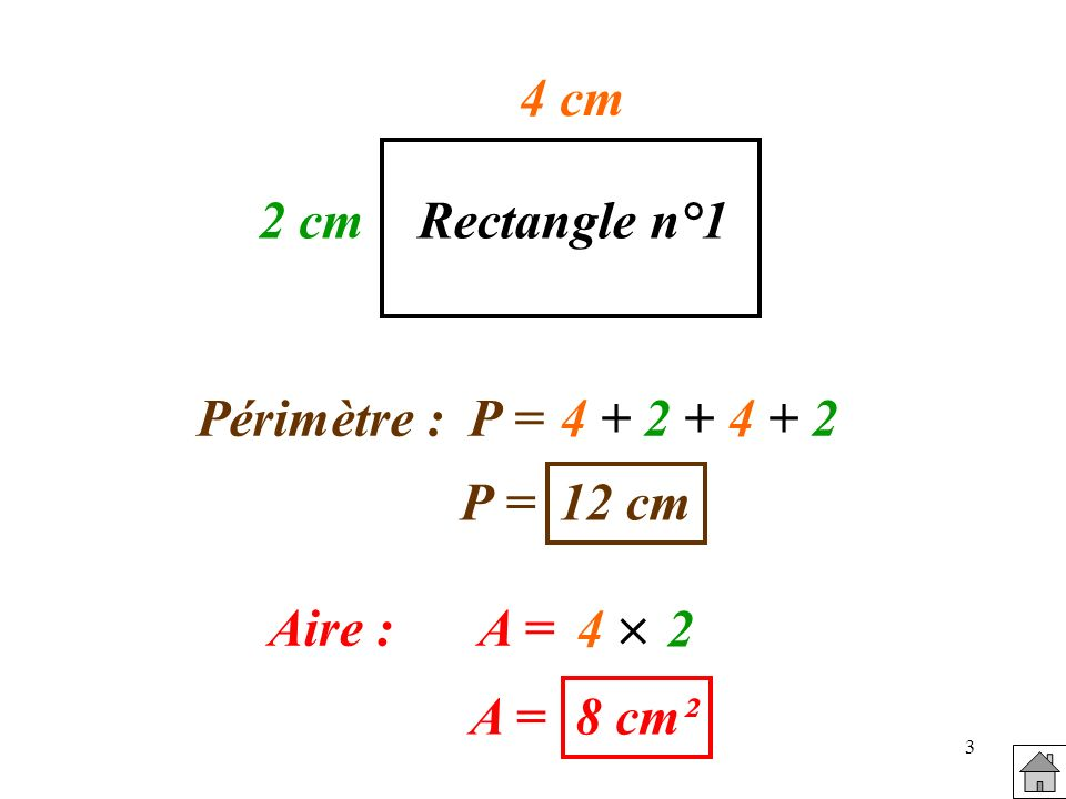 4 cm 2 cm Rectangle n°1 Périmètre : P = 4 + 2 + 4 + 2 P = 12 cm 4  2 Aire : A = A = 8 cm²