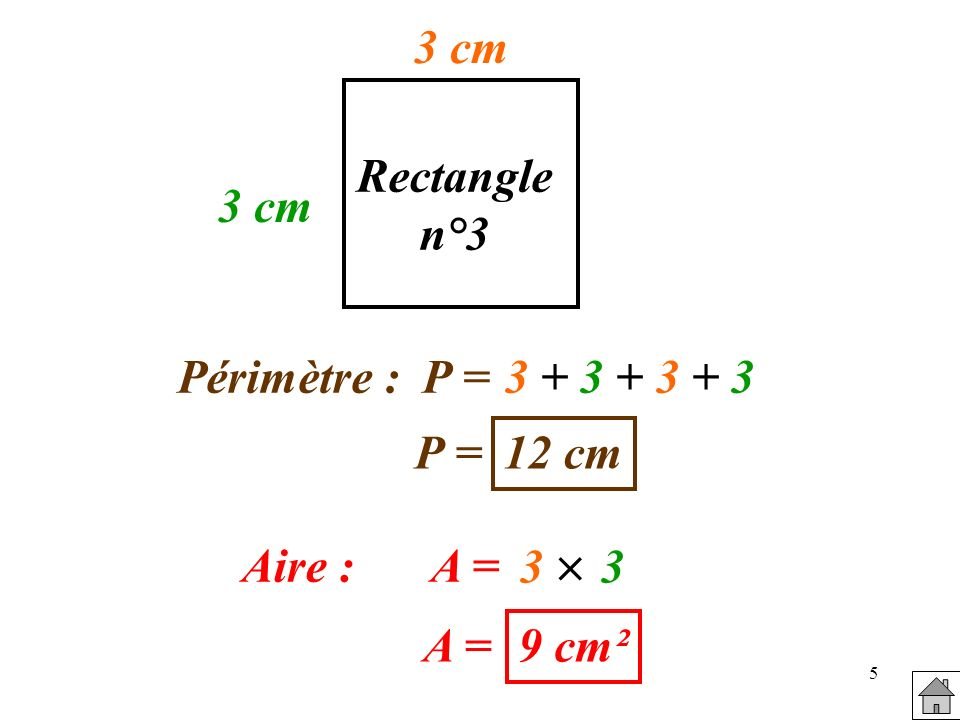 3 cm Rectangle n°3 3 cm Périmètre : P = 3 + 3 + 3 + 3 P = 12 cm 3  3 Aire : A = A = 9 cm²