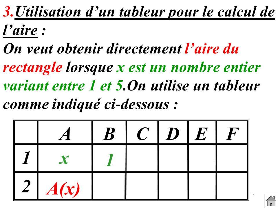 3.Utilisation d'un tableur pour le calcul de l'aire :