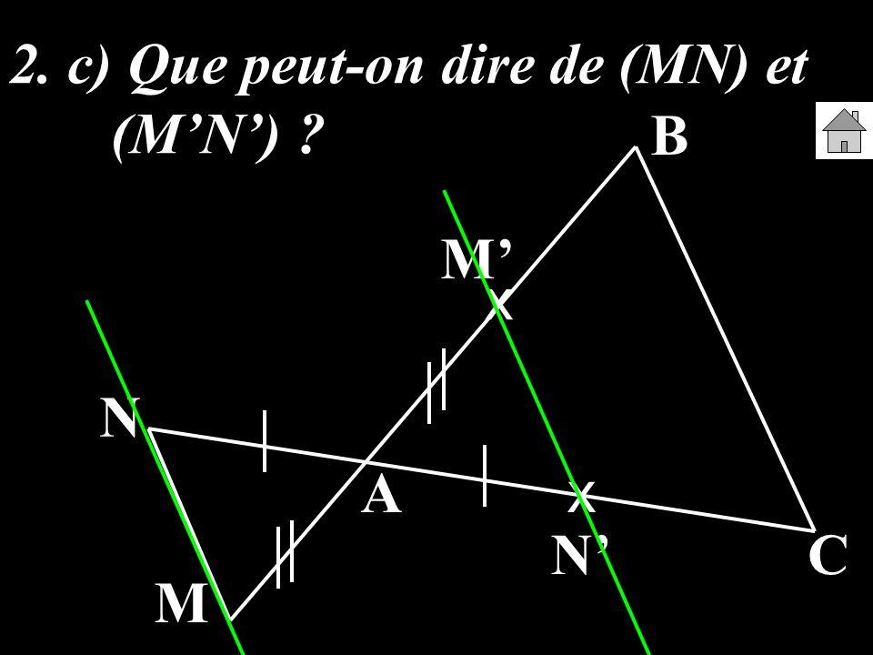 2. c) Que peut-on dire de (MN) et (M'N')