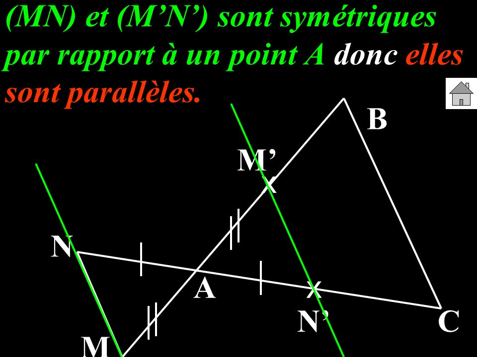 (MN) et (M'N') sont symétriques par rapport à un point A donc elles sont parallèles.