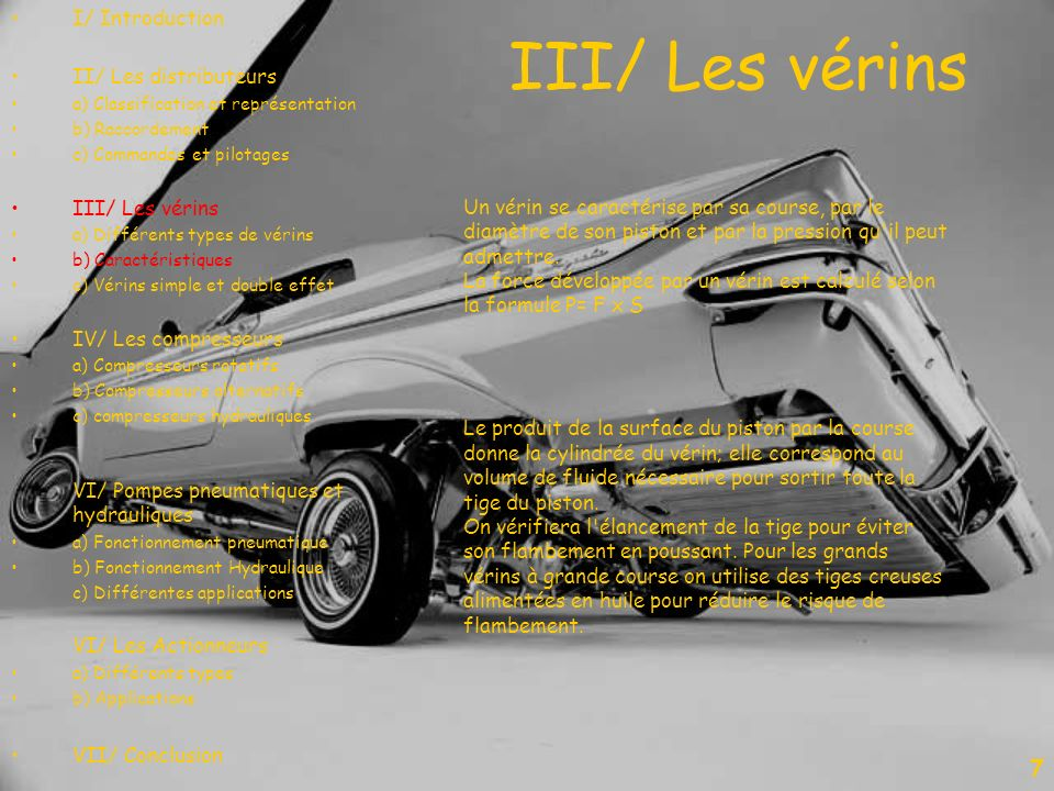III/ Les vérins 7 I/ Introduction II/ Les distributeurs